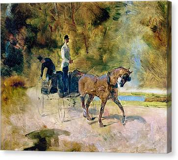 A Dog-cart, 1880 Oil On Canvas Canvas Print by Henri de Toulouse-Lautrec