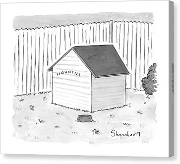 A Dog House With No Doors Is Seen With The Sign Canvas Print
