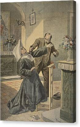 A Drama In An Asylum Assassination Canvas Print by French School