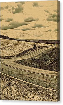 A Drive In The Country Canvas Print by Bonnie Bruno
