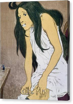 A Drug Addict Injecting Herself Canvas Print by Eugene Grasset
