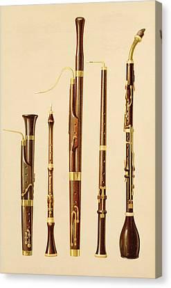 A Dulcian, An Oboe, A Bassoon Canvas Print by Alfred James Hipkins