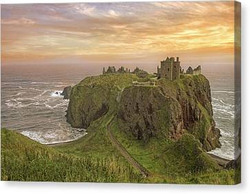 Canvas Print featuring the photograph A Dunnottar Castle Sunrise - Scotland - Landscape by Jason Politte