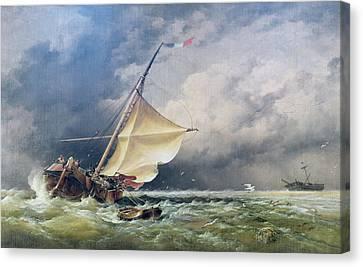 A Dutch Beurtman Aground Canvas Print by Edward William Cooke