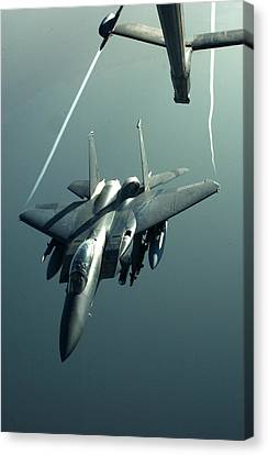 A F-15e Disengaging From A Kc-10 Canvas Print by Celestial Images