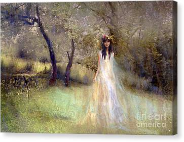A Fairy In The Orchard Canvas Print by Angel  Tarantella