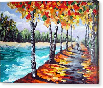 A Fall Stroll Canvas Print