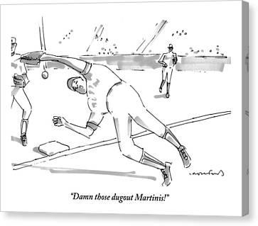 A Falling Baseball Player Fails To Catch A Ball Canvas Print