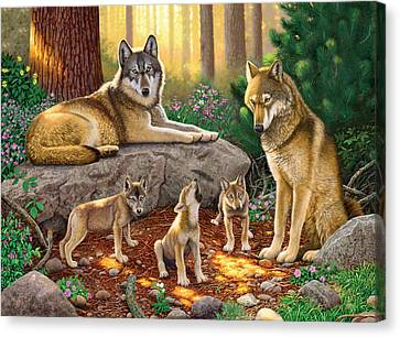 A Family Of Wolves Canvas Print by Chris Heitt