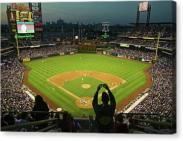 Citizens Bank Park Canvas Print - A Fan With A Digital Camera Taking by Panoramic Images