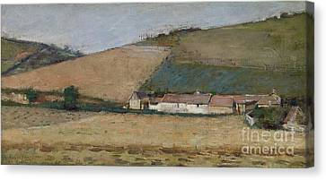 A Farm Among Hills Canvas Print