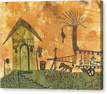 A Farm In India With Hut And Bull Cart Canvas Print by Nikunj Vasoya
