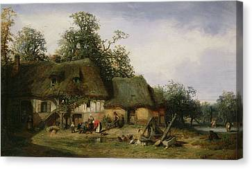 A Farm In Normandy Oil On Canvas Canvas Print by Nicolas Louis Cabat
