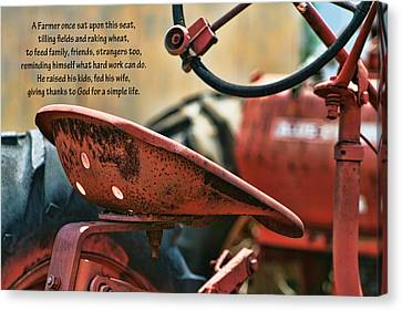 A Farmer And His Tractor Poem Canvas Print by Kathy Clark