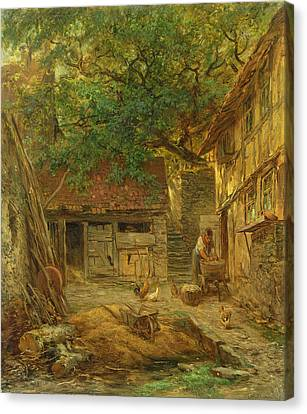 A Farmhouse Courtyard, 1862 Oil On Canvas Canvas Print by Anton Burger