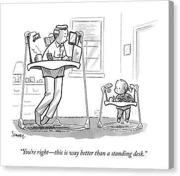 A Father Uses A Standing Babywalker Desk Canvas Print