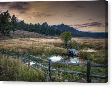 A Fence In A Field Canvas Print by Noah Katz