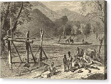 A Ferry On The French Broad 1872 Engraving Canvas Print by Antique Engravings