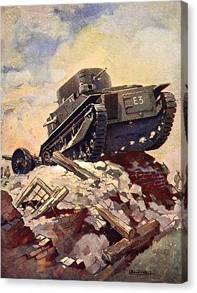 A First World War Tank Canvas Print by J. Allen Shuffrey