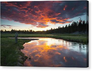 A Fisherman Tries His Luck Canvas Print