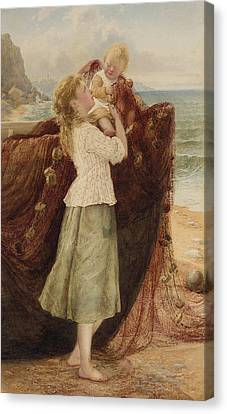 Lost At Sea Canvas Print - A Fisherman's Family by Samuel McCloy