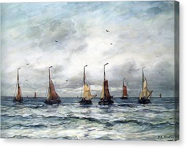 Sailboat Ocean Canvas Print - A Fishing Fleet by Hendrik Willem Mesdag