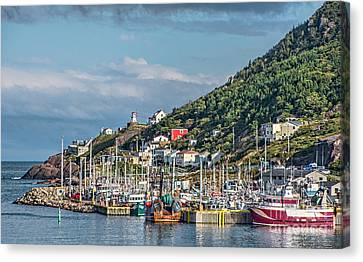 A Fishing Harbour In Newfoundland Canada Canvas Print