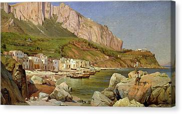 A Fishing Village At Capri Canvas Print by Louis Gurlitt