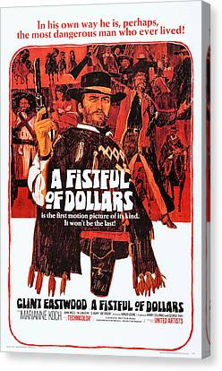 A Fistful Of Dollars, Us Poster Art Canvas Print by Everett