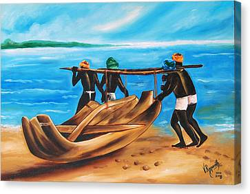 Canvas Print featuring the painting A Float On The Ocean by Ragunath Venkatraman