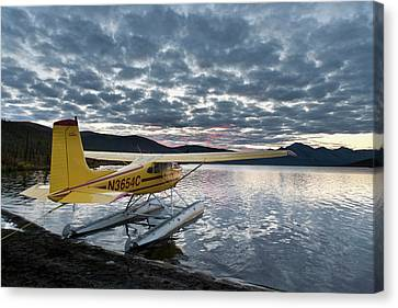 A Floatplane In Scenic Takahula Lake Canvas Print by Hugh Rose