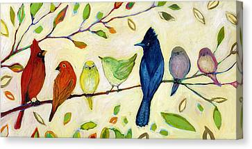 Birds Canvas Print - A Flock Of Many Colors by Jennifer Lommers