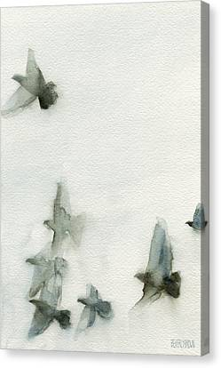 White Birds Canvas Print - A Flock Of Pigeons 1 Watercolor Painting Of Birds by Beverly Brown Prints
