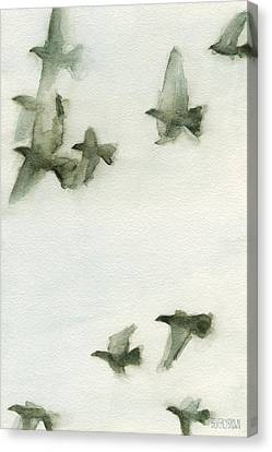 A Flock Of Pigeons 2 Watercolor Painting Of Birds Canvas Print by Beverly Brown