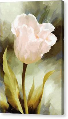 One Beautiful Flower Impressionism Canvas Print by Georgiana Romanovna