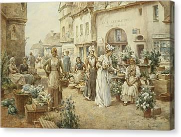 A Flower Market Canvas Print by Alfred Glendening Junior
