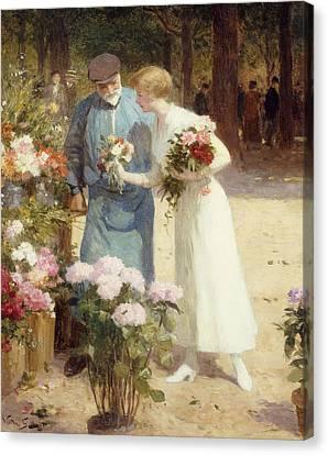 Gabriel Canvas Print - A Flower Market by Victor Gabriel Gilbert