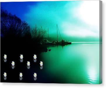 A Foggy Day At Log Boom Park On Lake Washington Canvas Print by Eddie Eastwood