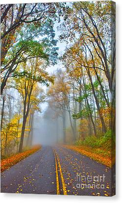 A Foggy Drive Into Autumn - Blue Ridge Parkway Canvas Print