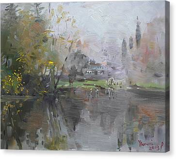 A Foggy Fall Day By The Pond  Canvas Print by Ylli Haruni