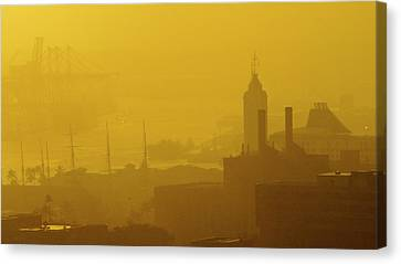 A Foggy Golden Sunset In Honolulu Harbor Canvas Print