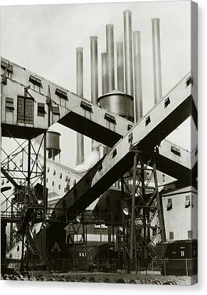 Building Canvas Print - A Ford Automobile Factory by Charles Sheeler