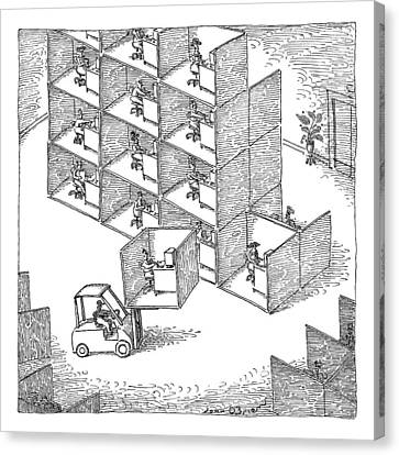 Cubicle Canvas Print - A Forklift Lifts A Cubicle And Moves To Stack by John O'Brien