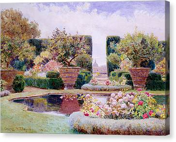 A Formal Garden In Rome Canvas Print by George Samuel Elgood