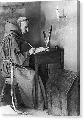 A Franciscan Padre Writing Canvas Print by Underwood Archives Onia