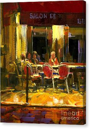 A French Cafe And Friends Canvas Print by Michael Swanson