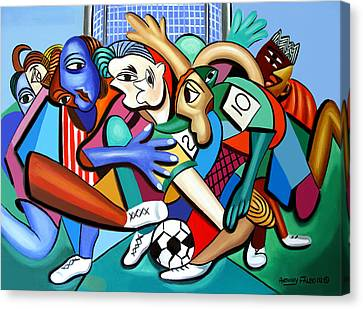 Cubism Canvas Print - A Friendly Game Of Soccer by Anthony Falbo