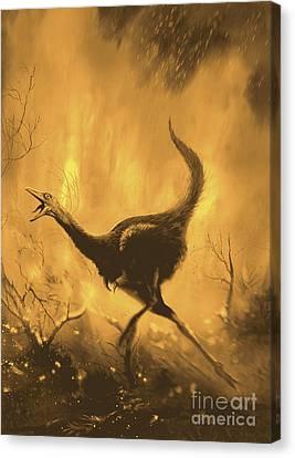 Fire Escape Canvas Print - A Frightend Mononykus Tries To Escape by Jan Sovak