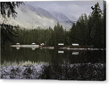 Canvas Print featuring the pyrography A Frost Day At The Lake. by Timothy Latta