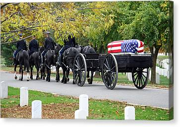 Canvas Print featuring the photograph A Funeral In Arlington by Cora Wandel